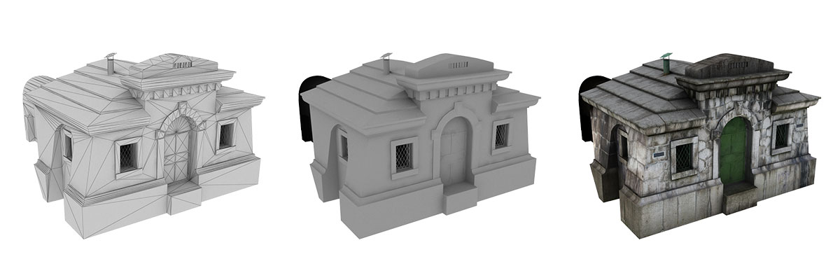 Low-poly model a jeho fáze